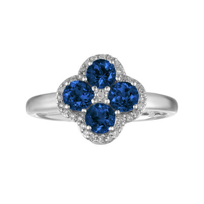 Lab-Created Sapphire and White Topaz Flower Sterling Silver Ring