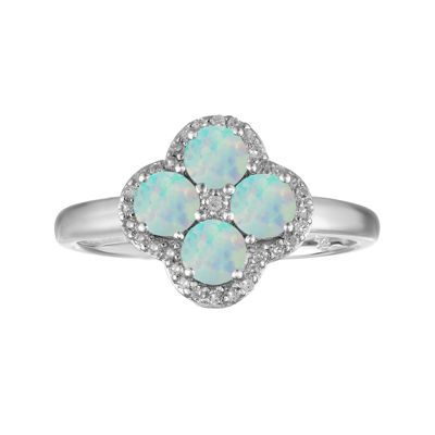 Lab-Created Opal and White Topaz Flower Sterling Silver Ring