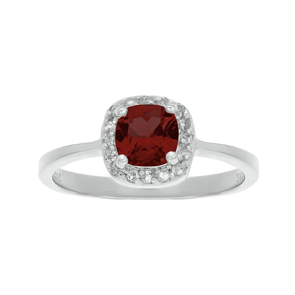 Cushion-Cut Genuine Garnet and White Topaz Sterling Silver Ring