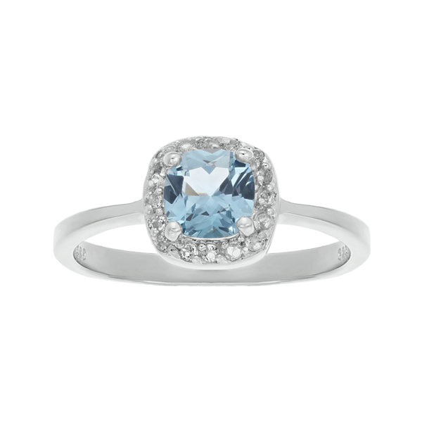 Cushion-Cut Simulated Aquamarine and Genuine White Topaz Sterling Silver Ring