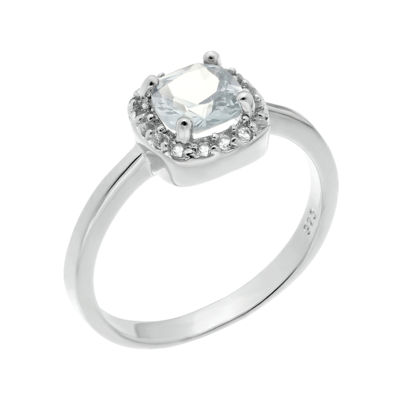 Cushion-Cut Genuine White Topaz Sterling Silver Ring