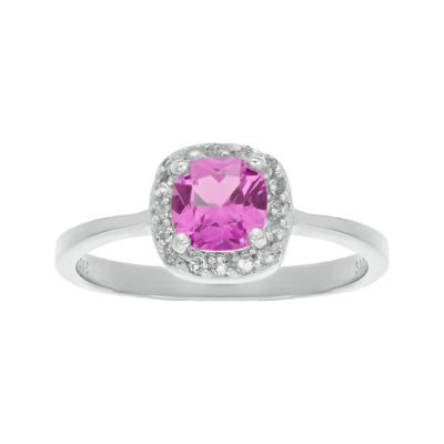 Cushion-Cut Lab-Created Pink Sapphire and Genuine White Topaz Sterling Silver Ring