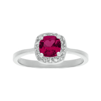 Cushion-Cut Lab-Created Ruby and Genuine White Topaz Sterling Silver Ring