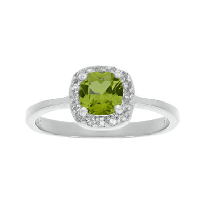 Cushion-Cut Genuine Peridot and White Topaz Sterling Silver Ring