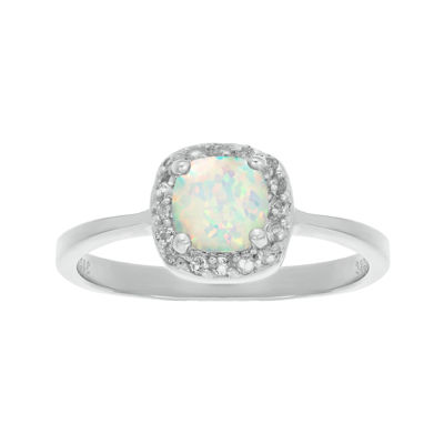 Cushion-Cut Lab-Created Opal and Genuine White Topaz Sterling Silver Ring