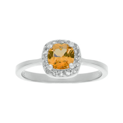 Cushion-Cut Genuine Citrine and White Topaz Sterling Silver Ring