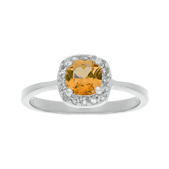 Cushion Cut Genuine Citrine And White Topaz Sterling Silver Ring