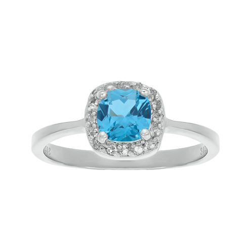 Cushion-Cut Genuine Blue and White Topaz Sterling Silver Ring