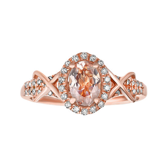 1/4 CT. T.W. Diamond and Genuine Morganite 10K Rose Gold Ring