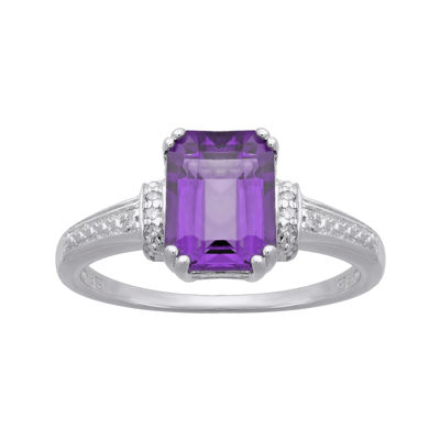Genuine Amethyst and Diamond-Accent 10K White Gold Ring