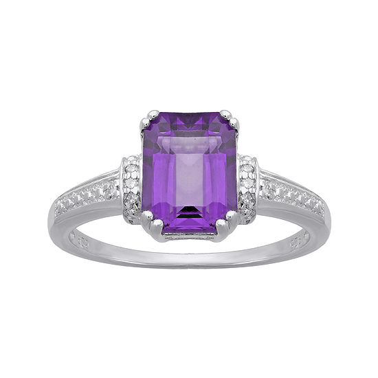 Genuine Amethyst And Diamond Accent 10k White Gold Ring