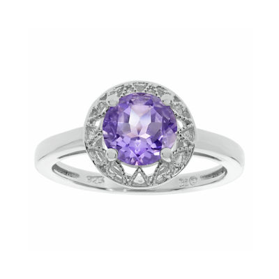 Genuine Amethyst Filigree Sterling Silver Ring