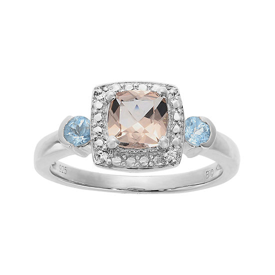 Genuine Morganite, Aquamarine and Diamond-Accent Ring