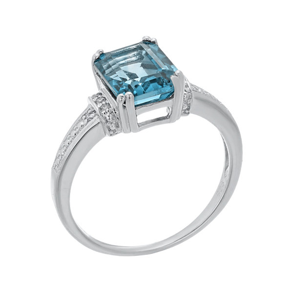 Genuine Topaz and Diamond-Accent 10K White Gold Ring