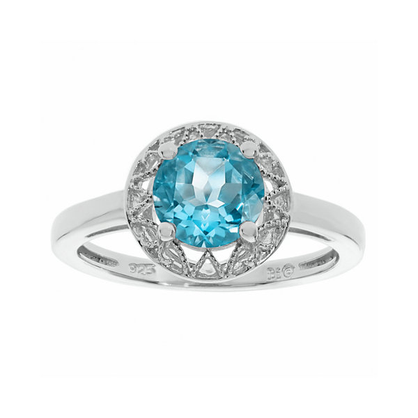 Genuine Blue Topaz Filigree Sterling Silver Ring