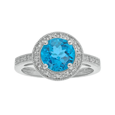 Genuine Blue Topaz and Lab-Created White Sapphire Round Sterling Silver Ring