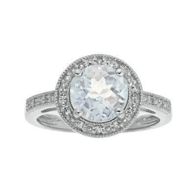 Genuine White Topaz and Lab-Created White Sapphire Round Sterling Silver Ring