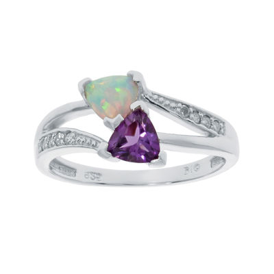 Lab-Created Opal and Genuine Amethyst Sterling Silver Ring