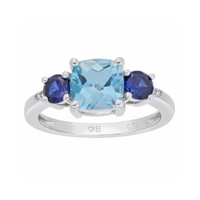 Genuine Blue Topaz and Lab-Created Blue Sapphire 3-Stone Ring