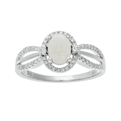 1/5 CT. T.W. Diamond and Genuine Opal 10K White Gold Oval Ring