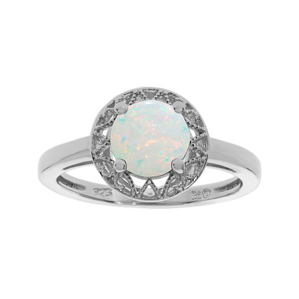 Lab-Created Opal Filigree Sterling Silver Ring