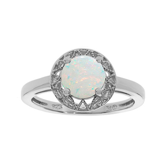 Lab Created Opal Filigree Sterling Silver Ring