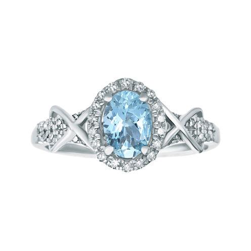 1/4 CT. T.W. Diamond and Genuine Aquamarine 10K White Gold Ring