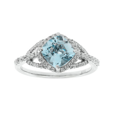 1/3 CT. T.W. Diamond and Genuine Aquamarine 10K White Gold Ring
