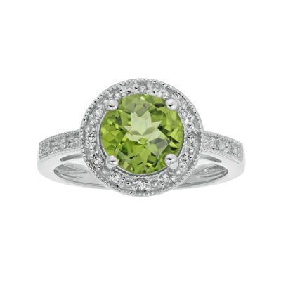 Genuine Peridot and Lab-Created White Sapphire Round Sterling Silver Ring