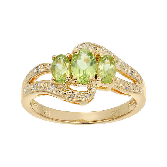 Genuine Peridot and White Topaz Yellow-Tone Sterling Silver 3-Stone Ring