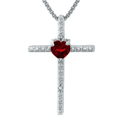 Genuine Garnet and Diamond-Accent Sterling Silver Cross and Heart Pendant Necklace