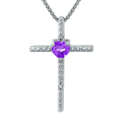 Genuine Amethyst and Diamond-Accent Sterling Silver Cross and Heart Pendant Necklace
