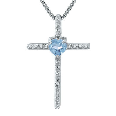 Simulated Aquamarine and Diamond-Accent Sterling Silver Cross and Heart Pendant Necklace