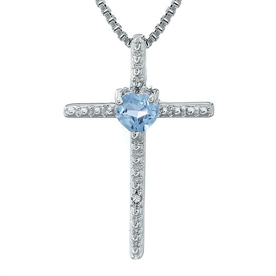 Simulated aquamarine and diamond accent sterling silver cross and simulated aquamarine and diamond accent sterling silver cross and heart pendant necklace aloadofball Gallery