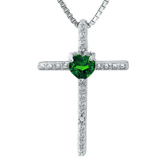Lab-Created Emerald and Diamond-Accent Sterling Silver Cross and Heart Pendant Necklace