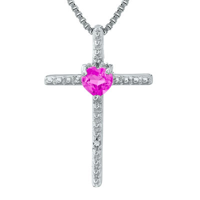 Lab-Created Pink Sapphire and Diamond-Accent Sterling Silver Cross and Heart Pendant Necklace