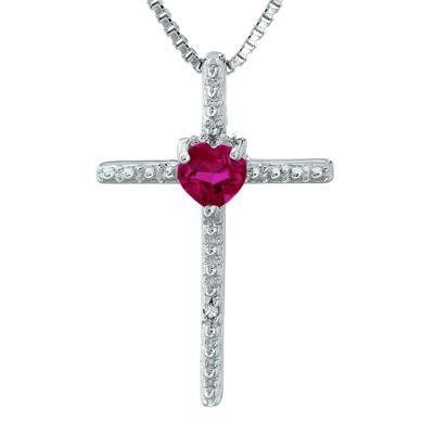 Lab-Created Ruby and Diamond-Accent Sterling Silver Cross and Heart Pendant Necklace