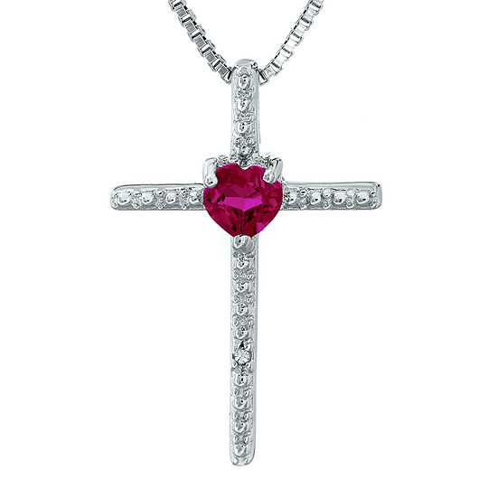 Lab Created Ruby And Diamond Accent Sterling Silver Cross And Heart Pendant Necklace