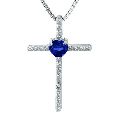 Lab-Created Sapphire and Diamond-Accent Sterling Silver Cross and Heart Pendant Necklace