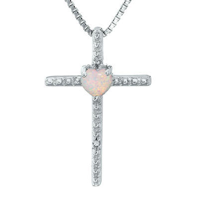 Lab-Created Opal and Diamond-Accent Sterling Silver Cross and Heart Pendant Necklace