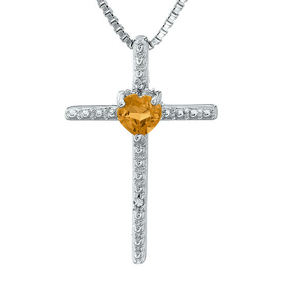 Genuine Citrine and Diamond-Accent Sterling Silver Cross and Heart Pendant Necklace
