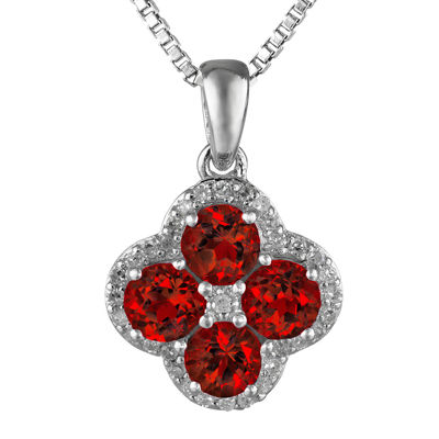 Genuine Garnet and White Topaz Flower Sterling Silver Pendant Necklace