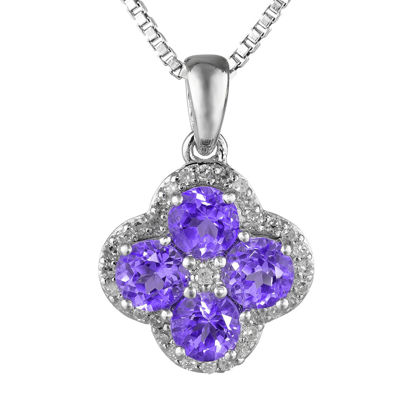 Genuine Amethyst and White Topaz Flower Sterling Silver Pendant Necklace