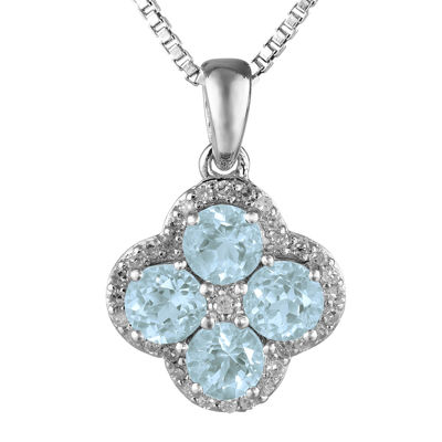 Simulated Aquamarine & Genuine White Topaz Flower Sterling Silver Pendant Necklace