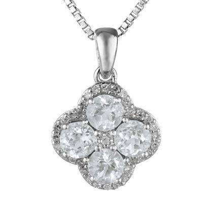 Genuine White Topaz Flower Sterling Silver Pendant Necklace