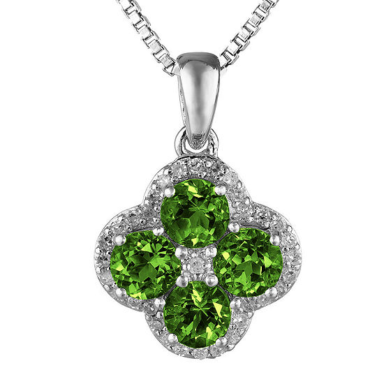 Lab-Created Emerald and White Topaz Flower Sterling Silver Pendant Necklace