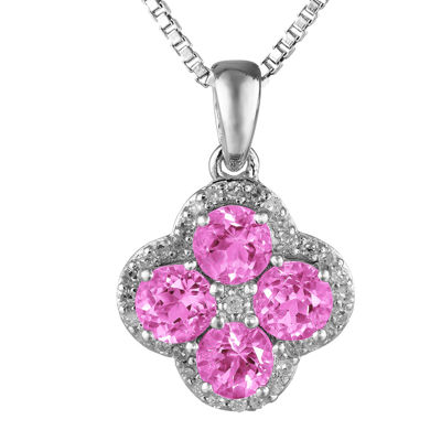 Lab-Created Pink Sapphire and White Topaz Flower Sterling Silver Pendant Necklace