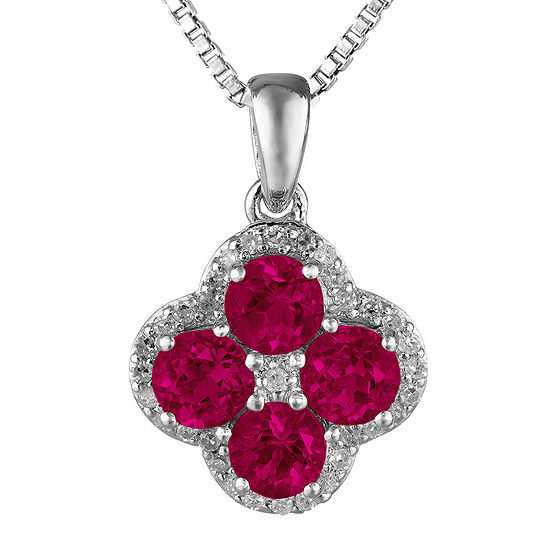 Lab-Created Ruby and White Topaz Flower Sterling Silver Pendant Necklace