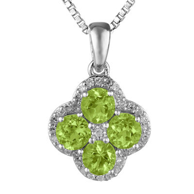 Genuine Peridot and White Topaz Flower Sterling Silver Pendant Necklace