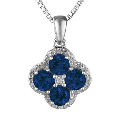 Lab-Created Sapphire and White Topaz Flower Sterling Silver Pendant Necklace